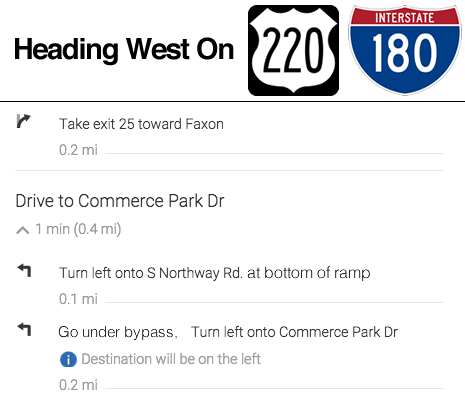 Directions from the West